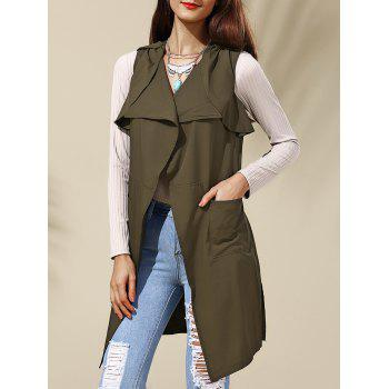 Chic Pure Color Turn-Down Collar Waistcoat For Women - ARMY GREEN ARMY GREEN