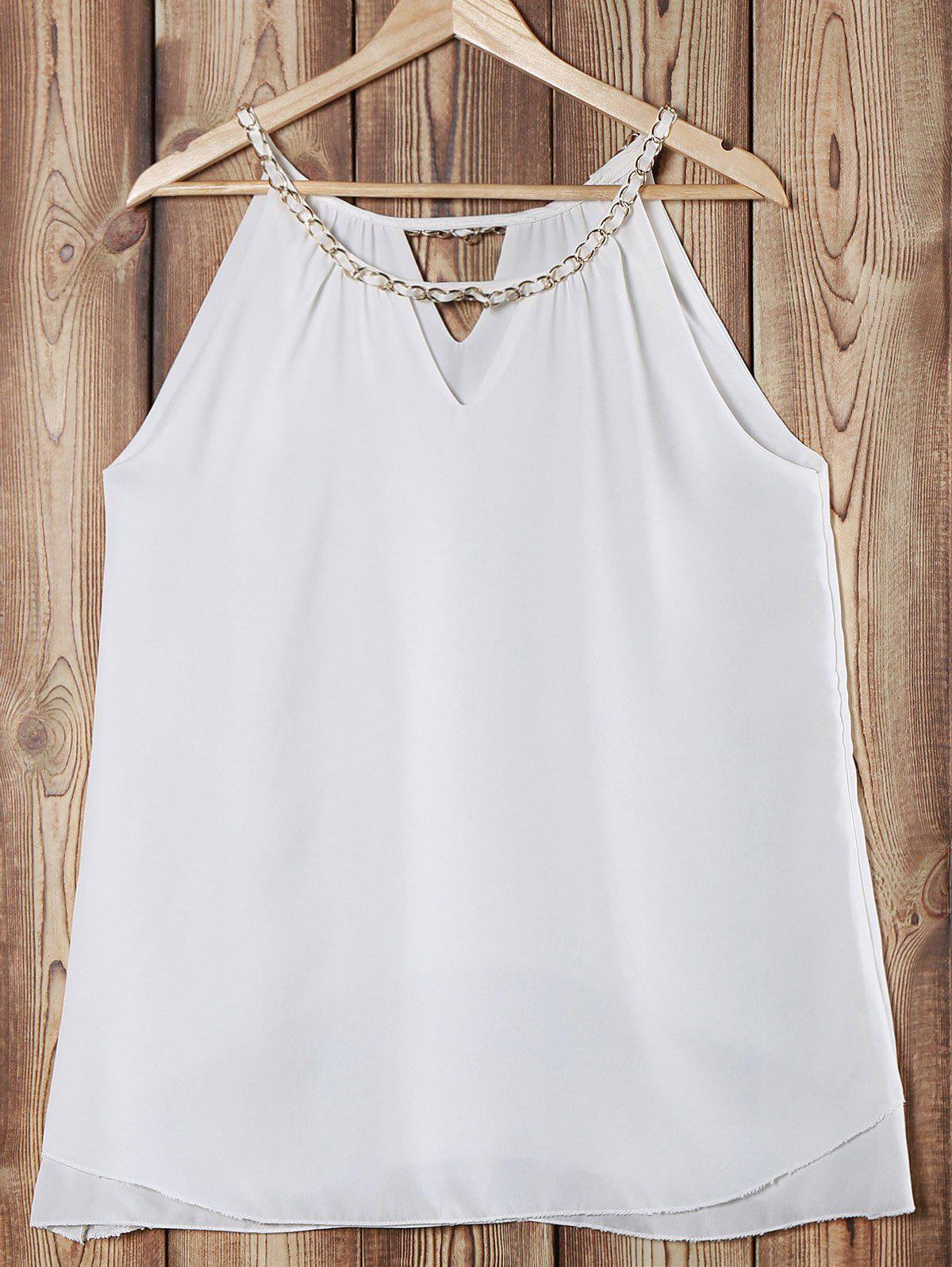 Elegant Chainmail Neckline Sleeveless Layered Tank Top For Women - WHITE M