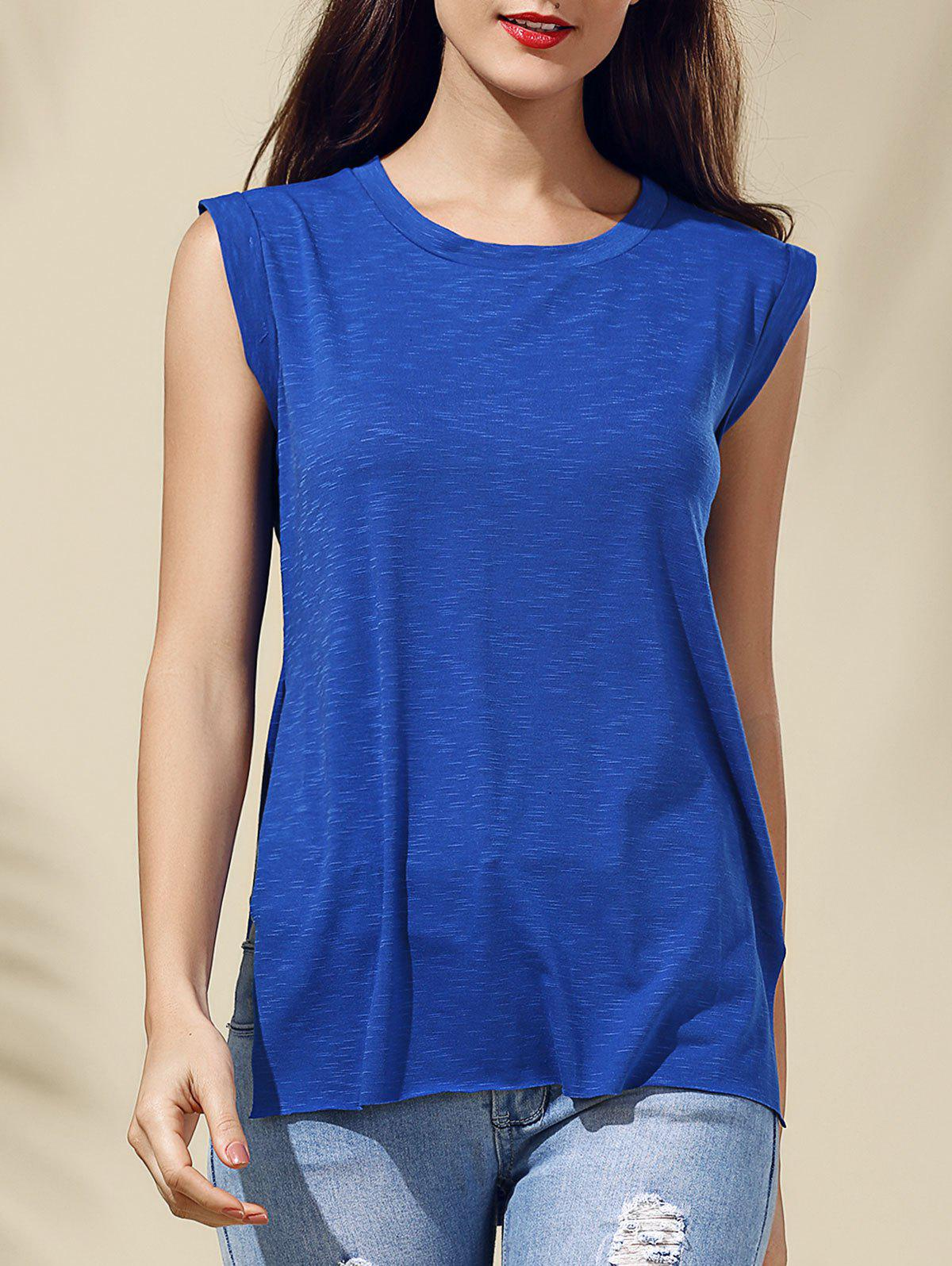 Stylish Sleeveless Blue Furcal T-Shirt For Women - BLUE M
