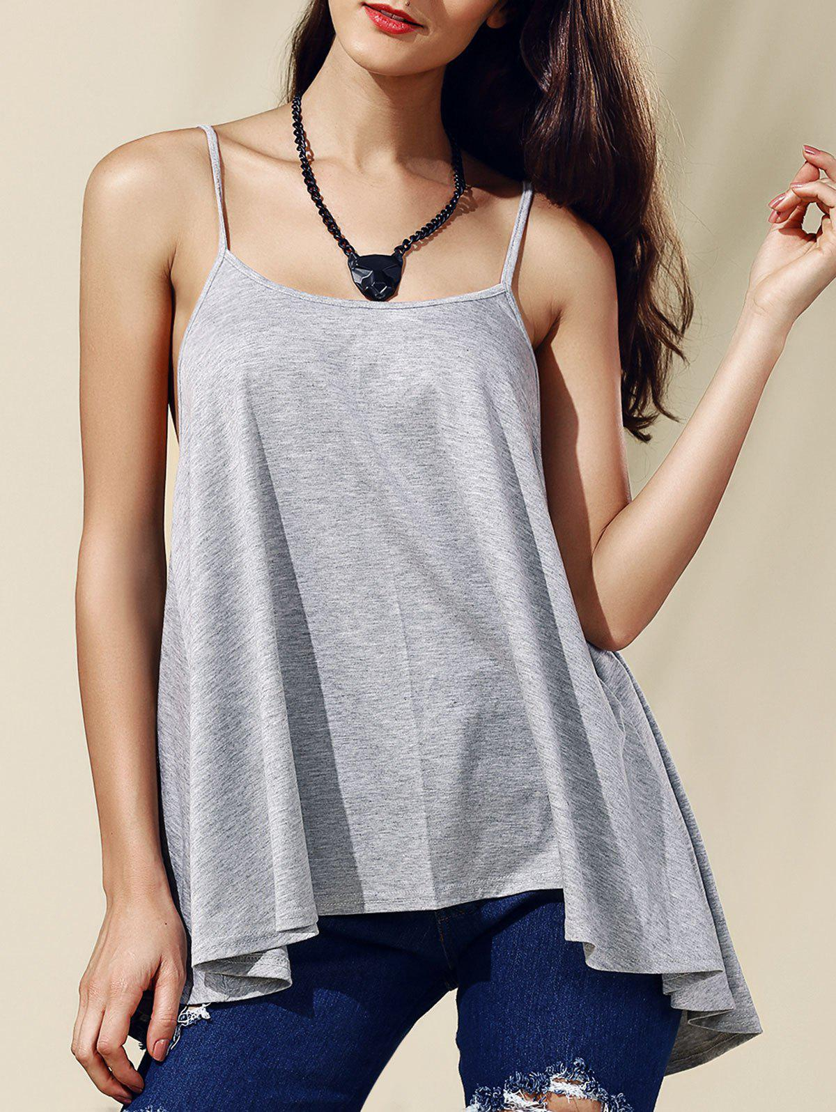 Stylish Backless Pure Color Spaghetti Strap Tank Top For Women - 2XL GRAY