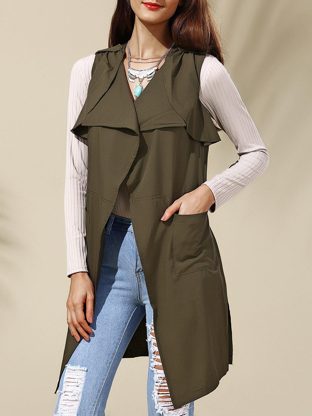 Chic Pure Color Turn-Down Collar Waistcoat For Women - ARMY GREEN XL