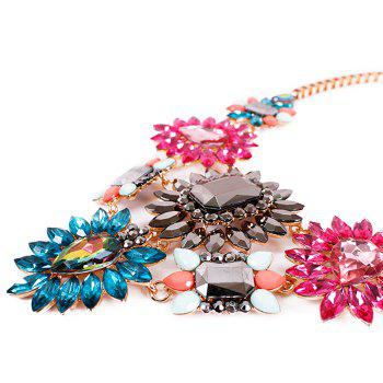 Flower Faux Crystal Necklace - ROSE