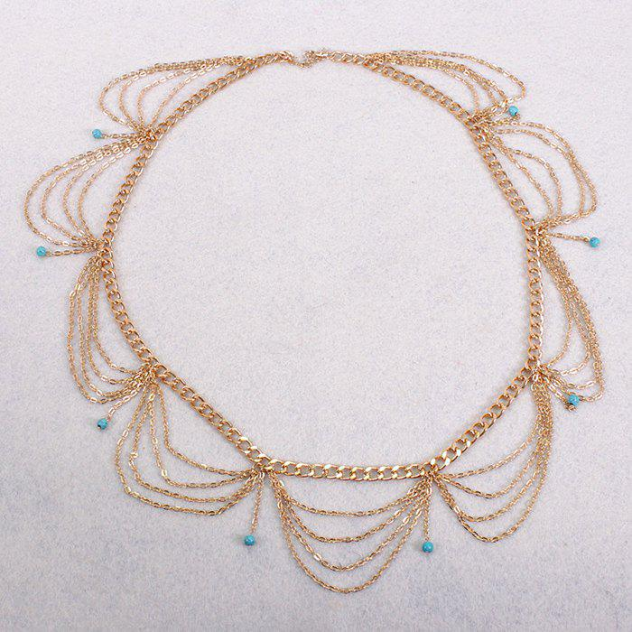 Faux Turquoise Tassel Hollow Out Waist Chain - GOLDEN