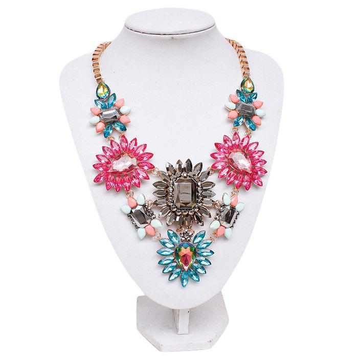 Chic Tropical Style Colored Faux Crystals Flower Women's Necklace