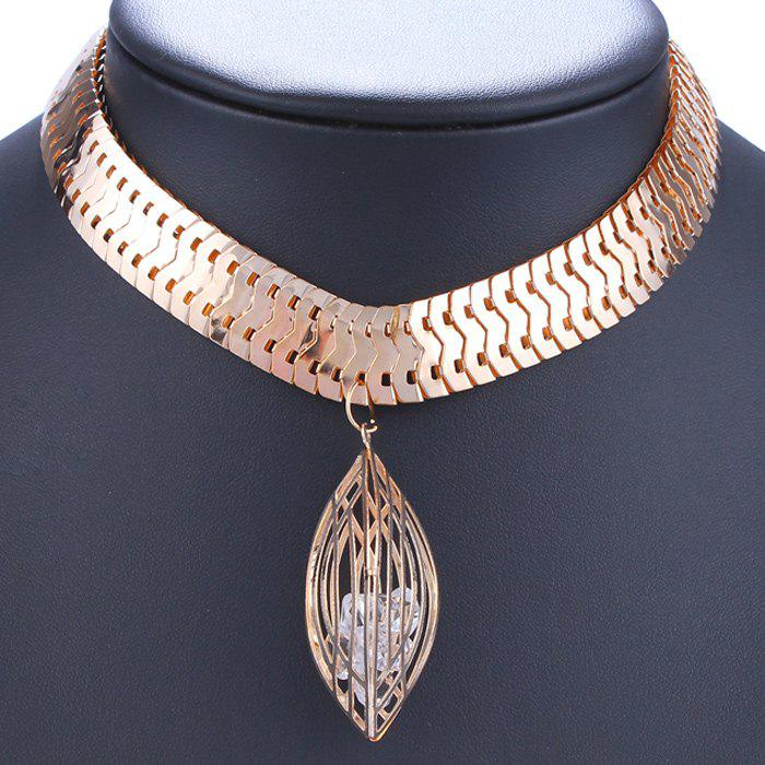 Hollow Out Faux Crystal Geometry Embellished Necklace - GOLDEN