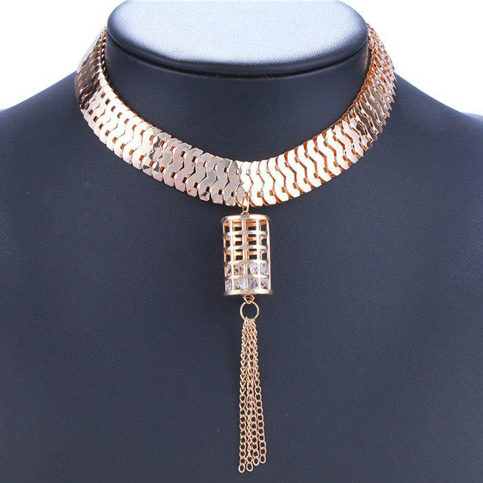 Chic Hollow Geometry and Tassel Embellished Women's Necklace - GOLDEN