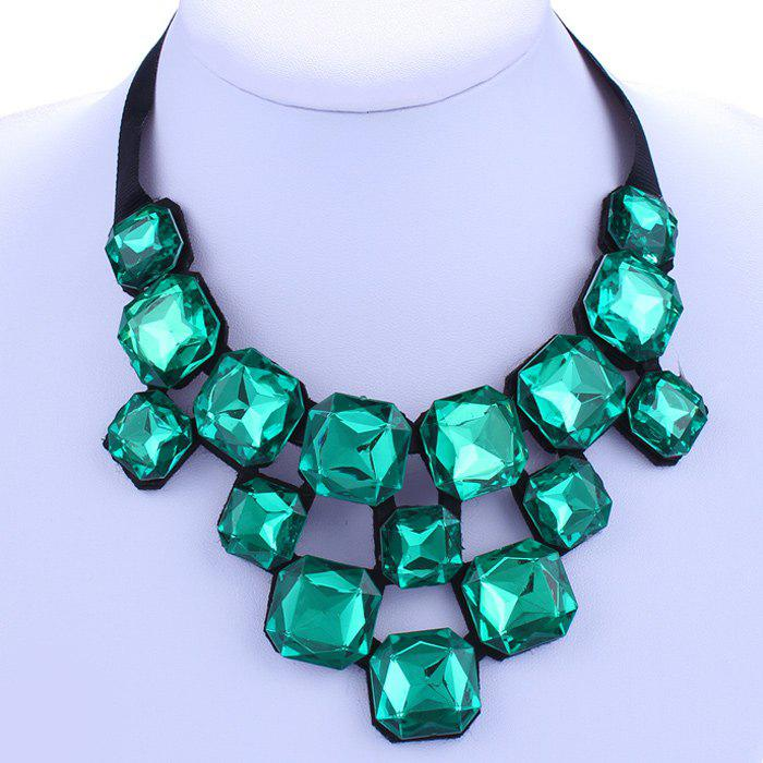 Chic Quadrate Green Rhinestone Embellished Women's Necklace - GREEN