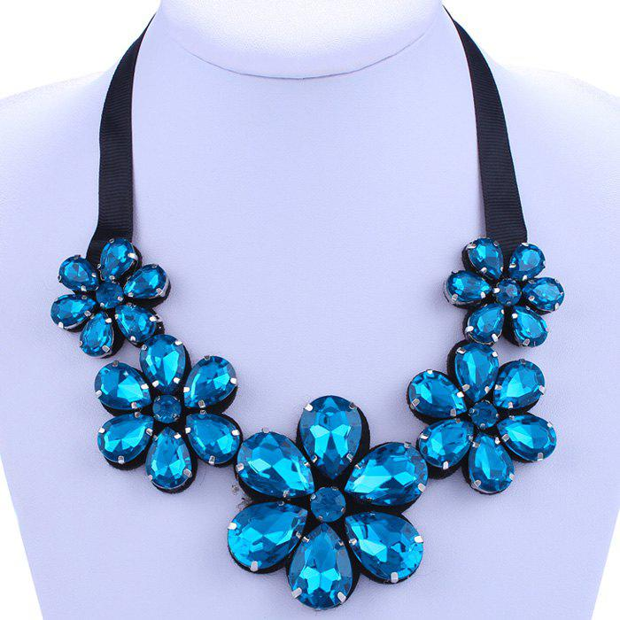 Chic Lake Blue Rhinestone Flower Shape Embellished Women's Necklace - LAKE BLUE