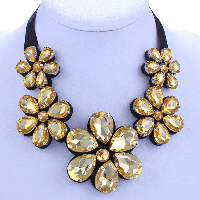 Rhinestone Flower Shape Ribbon Necklace - CHAMPAGNE