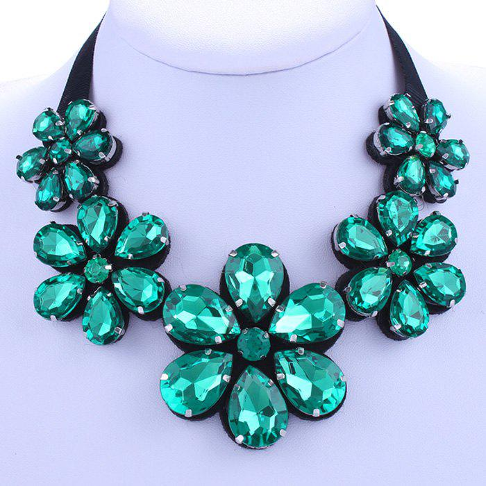 Floral Shape Faux Crystal Necklace - GREEN