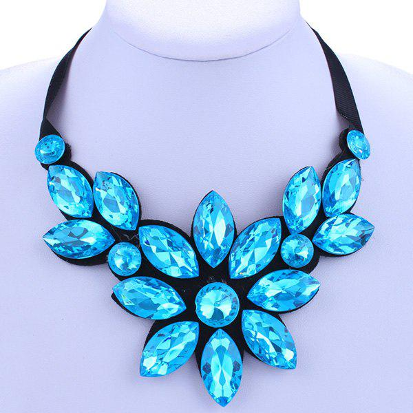 Chic Lake Blue Rhinestone Big Flower Shape Embellished Women's Necklace -  LAKE BLUE