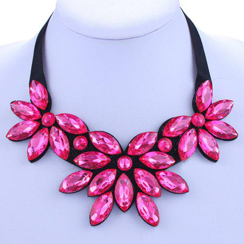 Chic Pink Rhinestone Floral Shape Embellished Women's Necklace