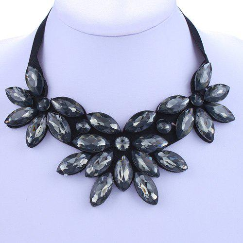 Chic Deep Gray Rhinestone Floral Shape Embellished Women's Necklace