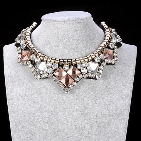 Rhinestone Faux Crystal Embellished Wavy Necklace - WHITE