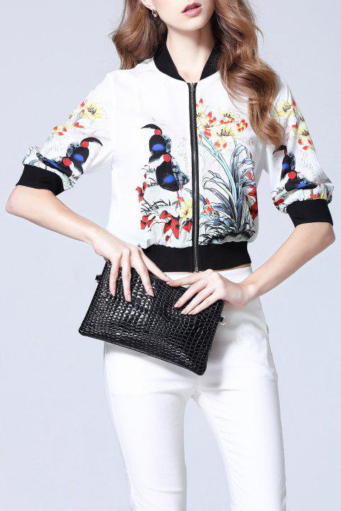 Floral Ribbed Jacket - WHITE M