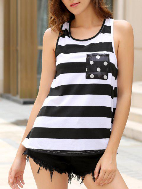2f997151345 Stylish Scoop Neck Sleeveless Bowknot Embellished Striped Women s Tank Top  - BLACK M