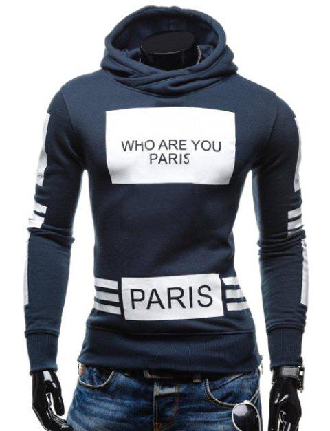Stylish Hooded Letters Printing Striped Color Matching Long Sleeves Men's Hoodie - CADETBLUE XL