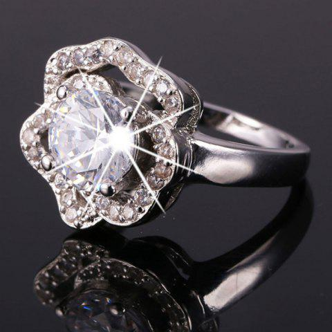 Rhinestone Floral Ring Shape - Argent ONE-SIZE
