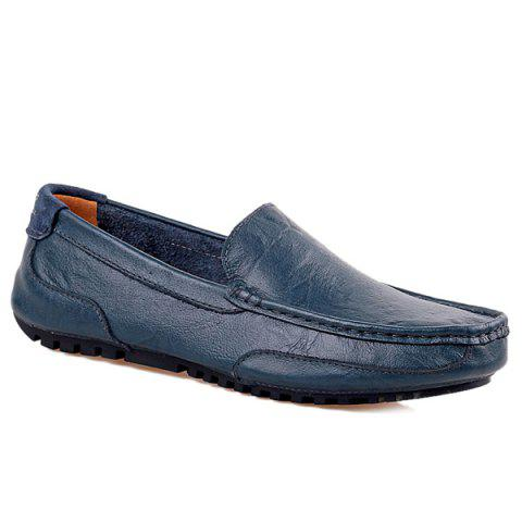 Simple Round Toe and Stitching Design Men's Loafers - BLUE 43