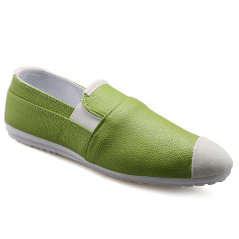 Casual Color Block and Elastic Design Men's Loafers - GREEN 43