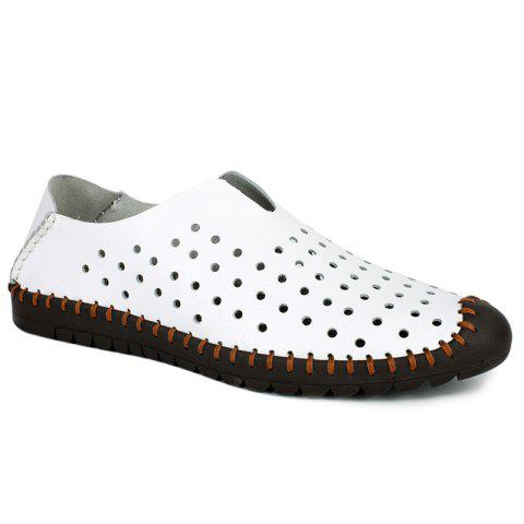 Trendy Stitching and Hollow Out Design Men's Casual Shoes - WHITE 40