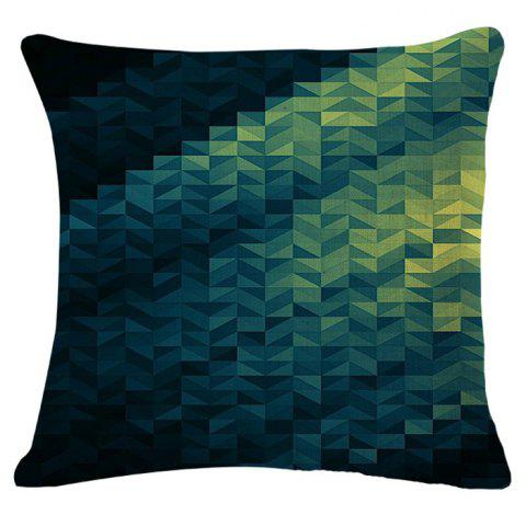Stylish Green Geometric Vector Pattern Square Shape Flax Pillowcase (Without Pillow Inner) - GREEN