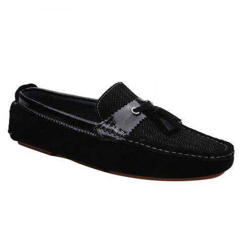 Stylish Solid Colour and Tassels Design Men's Casual Shoes - BLACK 42