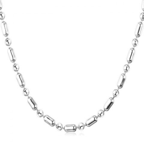 Punk Style Stainless Steel Beads Necklace - SILVER