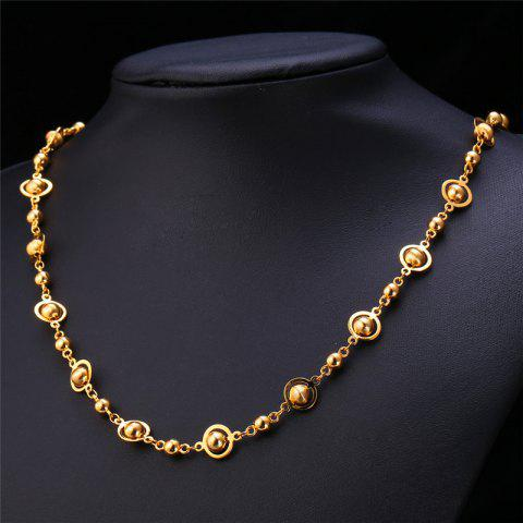 Punk Style Stainless Steel Hollow Out Beads Necklace For Men - GOLDEN