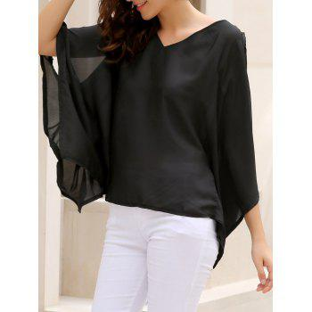 Alluring Women's V-Neck Solid Color Plus Size Hollow Out Blouse