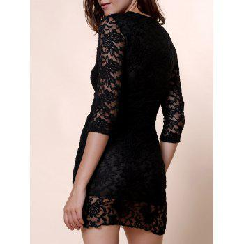 Plunging Neck 3 4 Sleeve See Through Solid Color Lace Dress