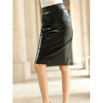 Stylish Women's Black PU Leather Bodycon Skirt