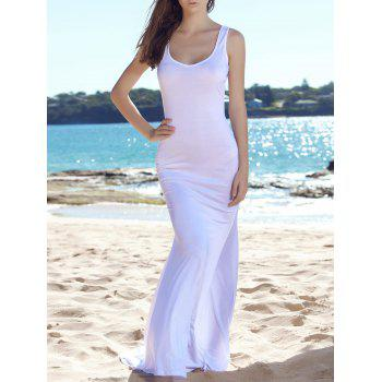 Charming White Plunging Neck Sleeveless Bodycon Fishtail Maxi Dress For Women