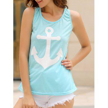 Stylish Scoop Collar Sleeveless Bowknot Design Anchor Print Women's Tank Top