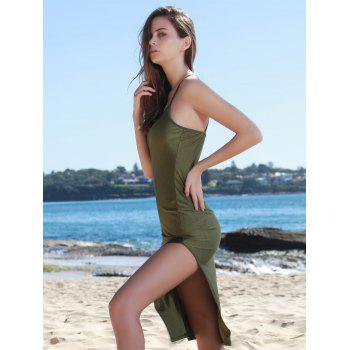 Chic Solid Color Spaghetti Strap Back Criss-Cross Side Slit Bodycon Dress For Women - ARMY GREEN L