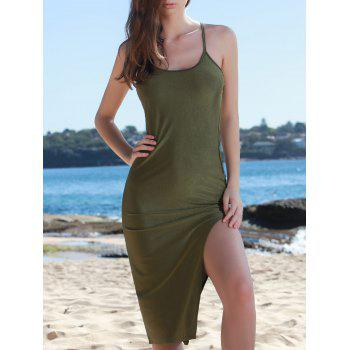 Chic Solid Color Spaghetti Strap Back Criss-Cross Side Slit Bodycon Dress For Women