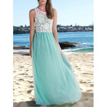 Elegant Hollow Out Lace Spliced Sleeveless Layered Gauze Maxi Prom Dress For Women