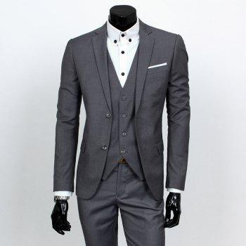Causal Style Lapel Color Block Breast Pocket Single-Breasted Long Sleeves Men's Slim Fit Blazer Suits(Blazer+Pants)