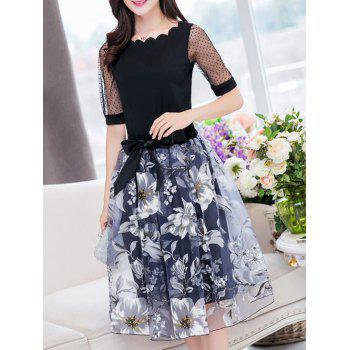Stylish Women's Jewel Neck Half Sleeves Patchwork T-Shirt + Floral Skirt - BLACK S