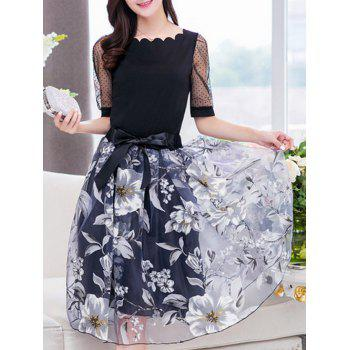 Stylish Women's Jewel Neck Half Sleeves Patchwork T-Shirt + Floral Skirt - L L