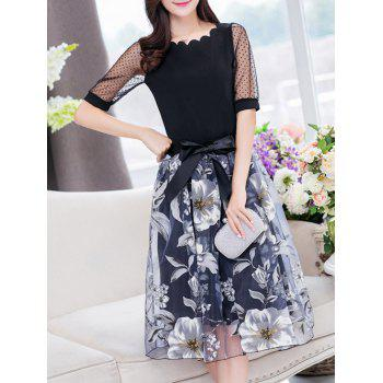 Stylish Women's Jewel Neck Half Sleeves Patchwork T-Shirt + Floral Skirt - BLACK L