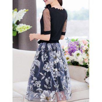 Stylish Women's Jewel Neck Half Sleeves Patchwork T-Shirt + Floral Skirt - BLACK XL