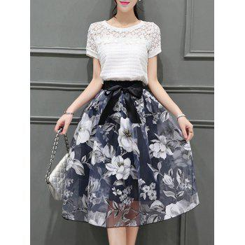 Elegant Women's Round Neck Short Sleeves Floral T-Shirt + Organza Skirt