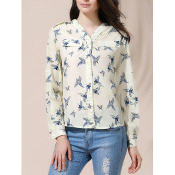 Full Bird Print Casual Style V-Neck Long Sleeve Women's Blouse - BEIGE S