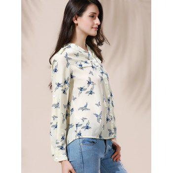 Full Bird Print Casual Style V-Neck Long Sleeve Women's Blouse - M M