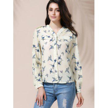Full Bird Print Casual Style V-Neck Long Sleeve Women's Blouse - XL XL