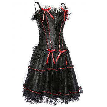 Attractive Women's Adjusted Straps Lace Corset - RED/BLACK 2XL