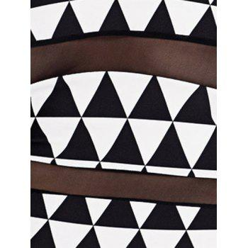 Charming Plus Size Gauze Spliced Geometric Print One-Piece Swimwear For Women - WHITE/BLACK XL