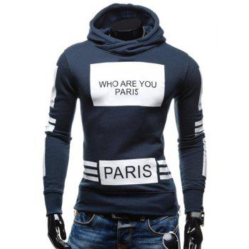 Stylish Hooded Letters Printing Striped Color Matching Long Sleeves Men's Hoodie
