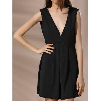 Plunging Neck Backless Solid Color Sleeveless Women s Dress
